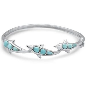natural larimar dolphin , 925 sterling silver bang